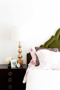 Black bedside tables, green velvet headboard, brass lamp! | Proper Hunt: Bedrooms // Serene But With Pops Of Color