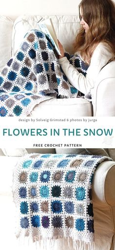 Flowers in The Snow Free Crochet Pattern Flowers in The Snow Crochet Blanket Ideas. Isn't this cal just perfect to wrap yourself in it and read your favorite book? It lightweight, but warm and very cosy, perfect for a lazy afternoon with hot cup of tea. Crochet Afghans, Bag Crochet, Crochet Granny, Crochet Gifts, Baby Blanket Crochet, Crochet Stitches, Crochet Tea Cosies, Modern Crochet Blanket, Crochet Square Blanket