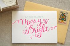 Set of 6 - Merry and Bright Letterpress Cards have yourself a merry little christmas Merry Little Christmas, Christmas Cards, Xmas, Christmas Time, Holiday Cards, Christmas Ideas, Christmas Typography, Miss Moss, Gold Envelopes