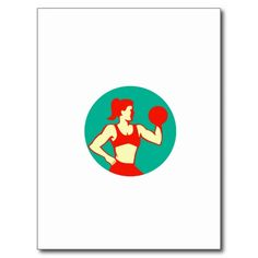 Female Lifting Dumbbell Circle Retro Postcard #weightlifting #olympics #sports #summergames #rio2016