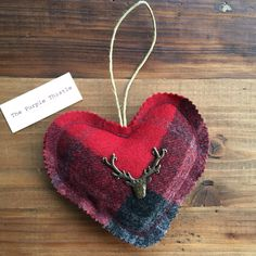 Stags Head on red Tweed heart with a touch of lavender! www.ThePurpleThistle.com Stag Head, Tweed, Lavender, Hearts, Decorations, Touch, Purple, Earrings, Jewelry
