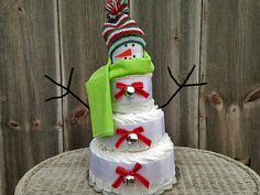 Holiday Snowman Diaper Cake Winter Themed Baby by AllDiaperCakes, $79.95