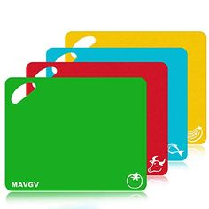 a86cd2d9982 Mavgv Flexible Plastic Cutting Board Mats Set, Colored Kitchen Mats With  Food Icons & Easy-Grip Handles, BPA-Free, Non-Porous, Dishwasher Safe (4  Pack).