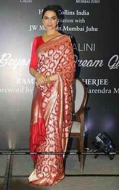 Deepika Padukone launched the biography of veteran actress Hema Malini in Mumbai on Monday. Sabyasachi Sarees, Ethnic Sarees, Indian Sarees, Banaras Sarees, Silk Sarees, Mumbai, Indian Bridal Outfits, Indian Dresses, Indian Clothes