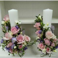 Lumanari nunta cilindrice Unity Candle, Candels, Handmade Candles, Wedding Decorations, Wedding Ideas, Wedding Flowers, Floral Wreath, Wreaths, Bride
