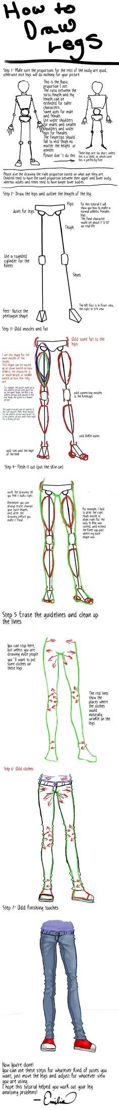 How to Draw Legs Tutorial by EmiliaArgon.deviantart.com on @deviantART