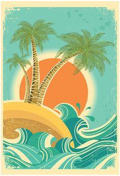 Retro Surf, Vintage Surf, Vintage Graphic, Sun Prints, Nature Posters, Tropical, Sun Art, Nature Images, Cool Posters