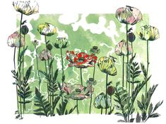 Garden - Mixed Media artwork by Alison Lowe Platt Mixed Media Artwork, Art Store, Online Art, Lowes, Printmaking, Poppies, Etsy Seller, Original Art, Green Flowers