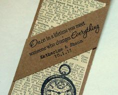 Bookmark wedding favors - I wish I'd thought of that.
