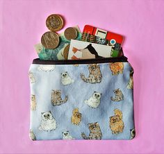 Your place to buy and sell all things handmade Cat Lover Gifts, Cat Lovers, Unique Cats, Fabric Purses, Pouch, Wallet, Coin Purses, Printing On Fabric, How To Draw Hands