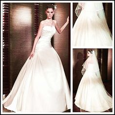 Princess Wedding Gown : Sleeveless Strapless Satin Dropped Waist Pleated Bodice for Rectangle Body Shape, read more article about this picture on http://www.weddingyuki.com/2015/03/princess-wedding-gown-tips-to-choose.html