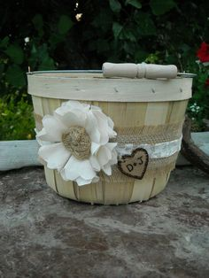 Rustic Flower Girl Basket - Burlap and Lace Wedding Basket For A Rustic Wedding, Garden Wedding, Barn Wedding, Beach Wedding on Etsy, $22.00