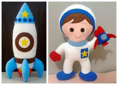 """Kit com 2 peças para decoração de nichos e do quarto do bebê.  Tema: """"Espaço sideral"""".    Conteúdo:    1 Boneco Astronauta de 30cm x 25cm  1 Foguete de 30cm x 15cm    Obs: O boneco não fica em pé sozinho. O foguete fica em pé sozinho.    Materiais: Feltro, pérolas plásticas, linha de meada.  Ench..."""