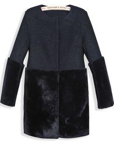 Abrigo combinado pelaje sintético manga larga-negro