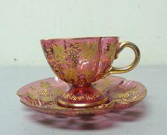 . 19th C Moser Cranberry Gilt Decorated Art Glass Cup Saucer Set | eBay