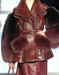Christian Dior f/w 2007 snake skin pattern leather jacket with fur sleeves and pocket flap detail