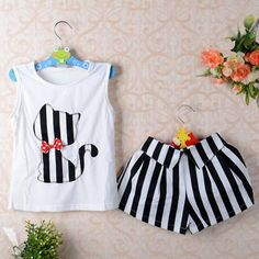 Girls Clothes Cartoon Cat T Shirt Short Childrens Suits Clothing Set Girls Set Girls Suit ChildrenS Girls Clothes Cartoon Cat T Shirt Short Childrens Suits Clothing Set Girls Set Girls Suit ChildrenS Baby Girl Dresses, Baby Dress, Girl Sleeves, Mode Hijab, Baby Kind, Kind Mode, Kids Wear, Outfit Sets, Fashion Kids
