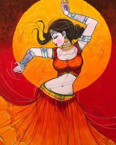Indian Women Painting, Indian Art Paintings, Colorful Paintings, Tango Art, Indian Illustration, Comic Art Girls, Cartoon Girl Drawing, Madhubani Painting, India Art