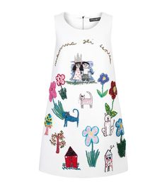 Double Crepe Hand-Embroidered Shift Dress by Dolce & Gabbana for Preorder on Moda Operandi White Sequin Dress, White Embroidered Dress, White Shift Dresses, White Sleeveless Dress, Embellished Dress, Fashion Kids, Colorful Fashion, Fashion Outfits, Fashion Design