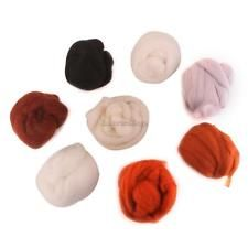 8 Multicolor Needle felting Wool Top Roving Dyed Spinning Wet Fiber Craft #1