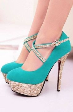 Golden Glitter Lined Turquoise Pumps