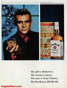 """1966 JIM BEAM vintage magazine advertisement """"See Sean Connery """" ~ See Sean Connery Starring in """"You Only Live Twice."""" - Gift-wrapped with our compliments. Jim Beam 86 Proof Kentucky Straight Bourbon Whiskey Distilled and Bottled by the James B. Vintage Ads, Vintage Prints, Retro Ads, Vintage Artwork, Vintage Stuff, Vintage Images, Vintage Decor, Vintage Posters, Sean Connery 007"""