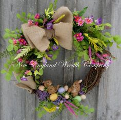 Bunnies in the Garden Wreath by NewEnglandWreath