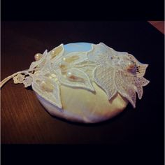 New satin and lace head piece niw for birdcage veil to be attached :D