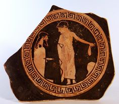 An ancient Attic Greek red-figure fragment of a kylix, a wine cup, attributed to the Veii Painter,