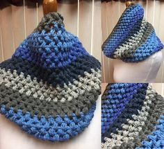 Puff Stitch Cowl, Crochet Cowl Scarf, Blue and Gray Cowl, Striped Cowl, Multi Color Cowl, Gifts for Her, Circle Scarf, Crocheted Cowl by CozyNCuteCrochet on Etsy