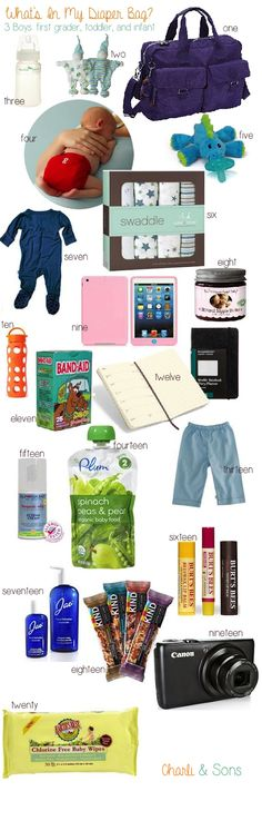 What's In My Diaper Bag? Here are all the mommy and baby essentials I have packed into my diaper bag with 3 kids: a 6 year old, toddler, and infant. Charli & Sons Blog