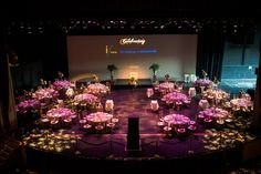 Dinner on the theater stage? How fun! Theatre Stage, Theater, Corporate Events, Table Decorations, Dinner, Fun, Furniture, Home Decor, Homemade Home Decor