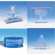 Unique Blue Crystal Hanukkah Menorahs