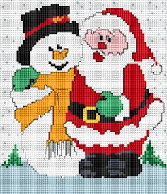 Free Cross Stitch Patterns: Santa and Snowman