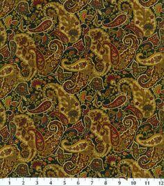 Keepsake Calico Fabric-Paisley-Black/Burgundy