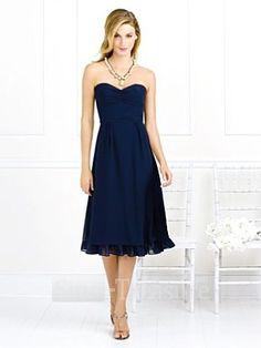 Dark Navy Sweetheart Column Satin/Chiffon Tea-length Bridesmaid/Wedding Party Dress