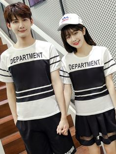 Contrast Color Splicing Couples Tees Two Pieces