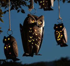 Metal hanging owl candle holder