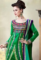 It is color this season and bright shaded suits are really something that is totally in vogue. The dazzling shaded green faux georgette salwar kameez have amazing embroidery patch work is done with resham and zari work. Beautiful embroidery work on kameez is stunning. Matching dark green santoon salwar and shaded green chiffon dupatta is available with this suit. Slight Color variations are possible due to differing screen and photograph resolutions.