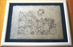 hand printed, historical metal/wood block print, on washi paper, indigo oil