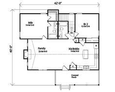 Farmhouse Style House Plan - 2 Beds 2 Baths 1217 Sq/Ft Plan #22-509 Main Floor Plan - Houseplans.com