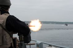 BALTIC SEA, May 30. 2017. ENS Wambola gunner open fire on fast threat as he participes in Force Protection drills conducted by SNMCMG1 and Swedish Navy  in the vicinity of Karlsrona .This Exercise included  Asymetric naval and air threats, and involved SNMCMG1 Flag Ship ENS Wambola, BNS Primula, HMS Shoreham, HSWMS Vinga and two Swedish Navy Fast Boats as well a Light Aircraft. NATO Photo by FRAN CPO Christian Valverde.