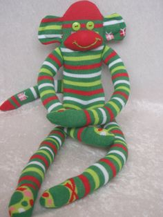 Striped Christmas Sock Monkey with Wreath and by TheMonkeyTrunk, $35.00