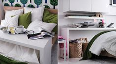 Get a console table for your bed that doubles as a shelf and a desk.