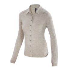 Lightweight overdyed heather Merino button-front shirt