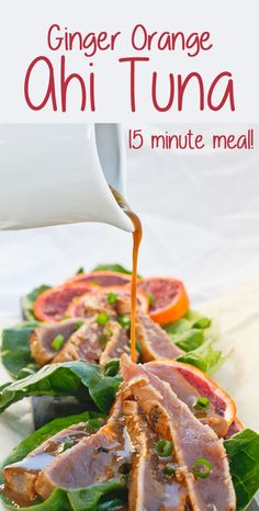 Low Unwanted Fat Cooking For Weightloss This Ginger Orange Seared Ahi Tuna Is A Fishy Take On Orange Chicken. This Delicious Dinner Show-Stopper Is Easy To Prepare And Ready In 15 Minutes. Tuna Recipes, Salmon Recipes, Seafood Recipes, Dinner Recipes, Healthy Recipes, Fruit Recipes, Fish Dishes, Seafood Dishes, Fish And Seafood