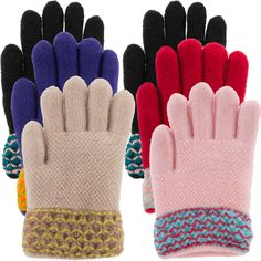 4cf9e507b30 3 Pairs Little Girls Knit Gloves With Soft Sherpa Fleece Lining Knitted  Gloves