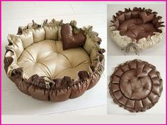 Handmade Pet Dog Cat Pet Bed with Ruffles Reversible Waterproof Double Sides Usable Cushion Sz Large Diameter 60 CM. $60.00, via Etsy.
