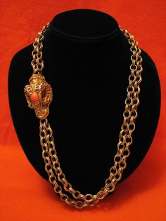 Antique Egyptian Revival Gold Tone Pink Coral Stone Serpent Ram Goat Necklace #Unbranded #Egyptian