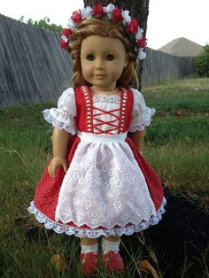 Red Dirndl dress and floral crown -Similar to the dirndl dress Heidi would have worn.